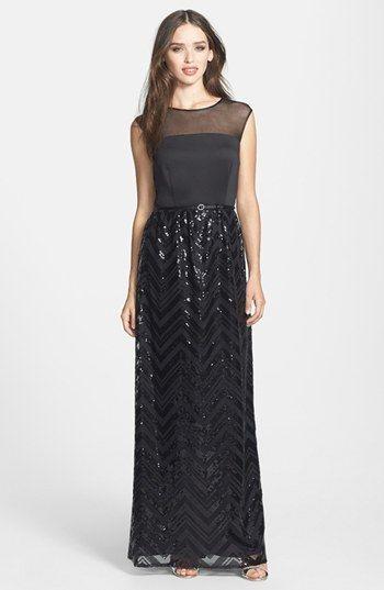 Ellen Tracy Illusion Yoke Sequin Stripe Long Dress | Nordstrom