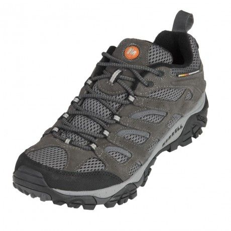 Merrell's Moab Ventilator is the summer essential hiking shoe, offering highly evolved breathability. A lattice-like overlay of Dura leather supports and protects while enhancing the mesh upper's venting. A synthetic leather toecap and heel counter offer added protection, while a Vibram multi-sport sole ensures superior grip.