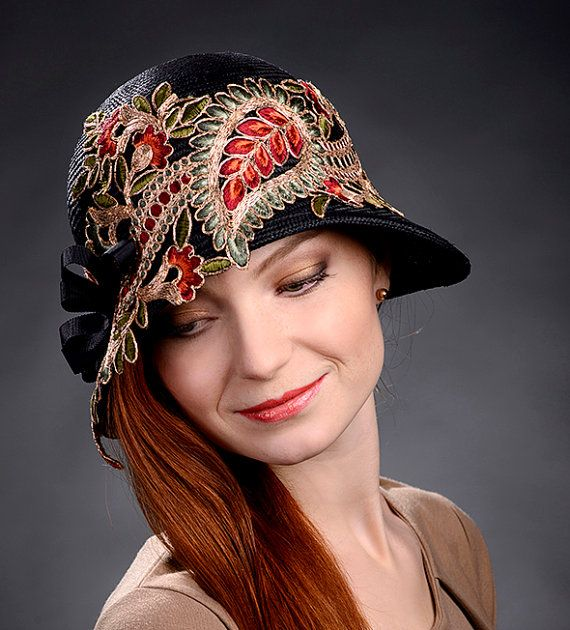 Black vintage cloche hat 1920s hat absolutely by MargeIilane, $175.00