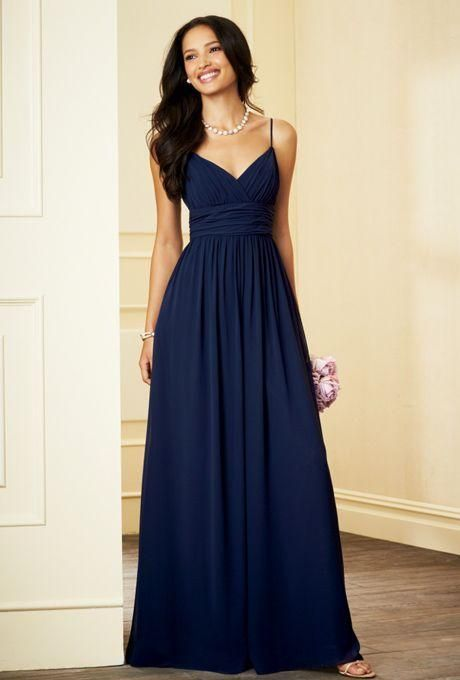 Spaghetti Straps Navy Blue Bridesmaid Dresses 2016 V Neck Ruched Chiffon Bodice Evening Dresses Formal Gown