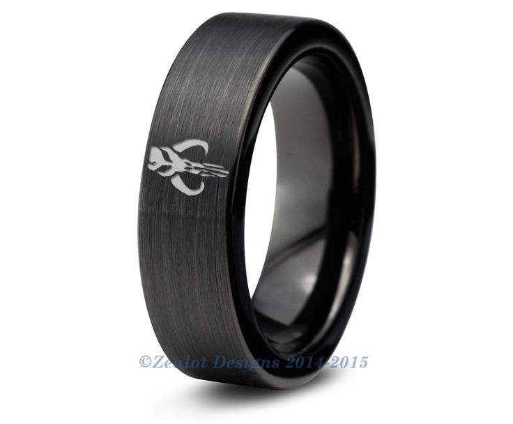 Bounty hunt in style with this Star Wars Inspired Mandalorian Mythosaur Tungsten Ring. ★ High Quality Tungsten Carbide ★ Comfort Fit ★ Black Enamel Plated ★ Sizes 5-15 including 1/2 sizes ★ Hypoallerg