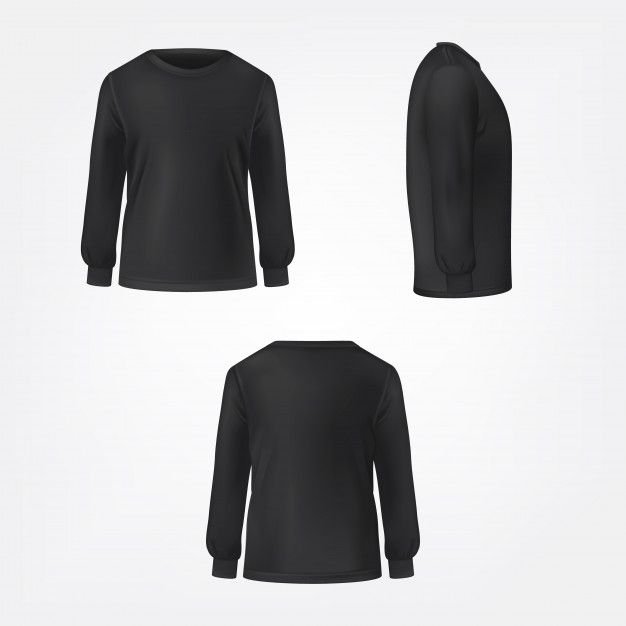 Download Black Jumper Three Sides View Realistic T Shirt Vector Free Vector Https Ift Tt 2n2jbf0 Pakaian Santai Model Pakaian Sketsa Model Pakaian