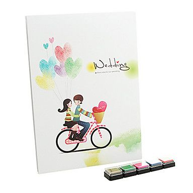 """""""Pure Love"""" Fingerprint Signature Guestbook with 5 Colors Inkpad – USD $ 9.95"""