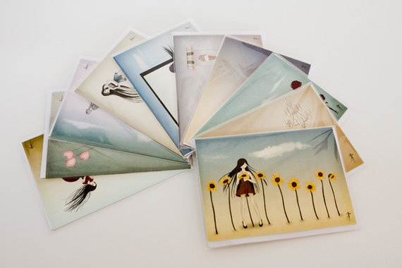 Collection of 10 greeting cards by TanyaRochat on Etsy, $49.50