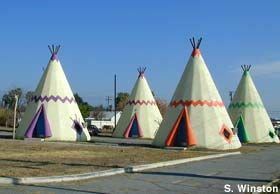 Rialto, California: Wigwam Village Motel #7  Sleep in teepee comfort at one of the few remaining -- and nicely restored --wigwam motels. Along Route 66. Teepee motel rooms.