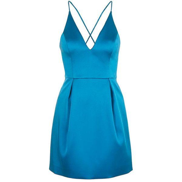 TOPSHOP V-Neck Satin Minidress (1015 TWD) ❤ liked on Polyvore featuring dresses, plunging v neck dress, satin dress, v neck dress, mini dress and blue cocktail dresses