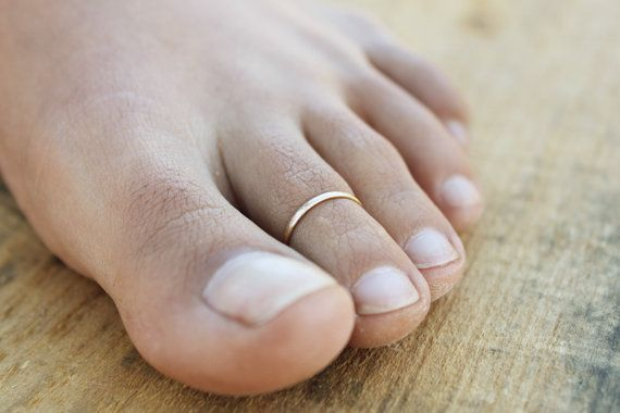 Thin Lightly Hammered Toe Ring available in by Carteohandmade