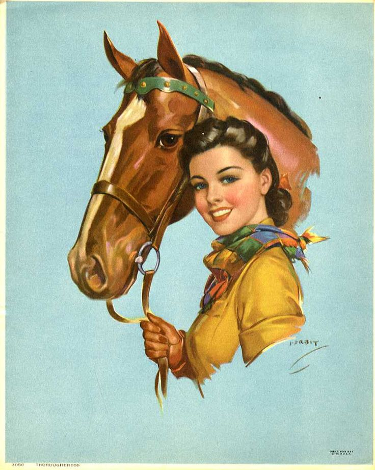 A lovely cowgirl and her horse (art by Jules Erbit). #vintage #cowgirls #fashion