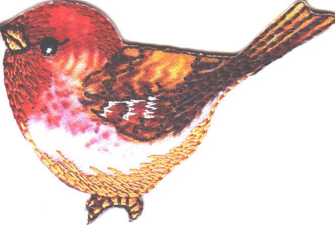 Bird, Red & Brown Shades Facing Left-Iron On Embroidered Applique/Birds
