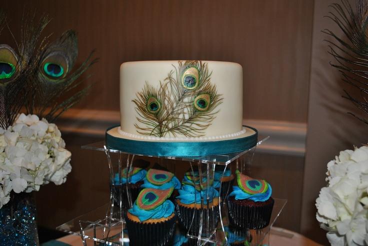 Peacock Bridal Shower cupcake tower & cake