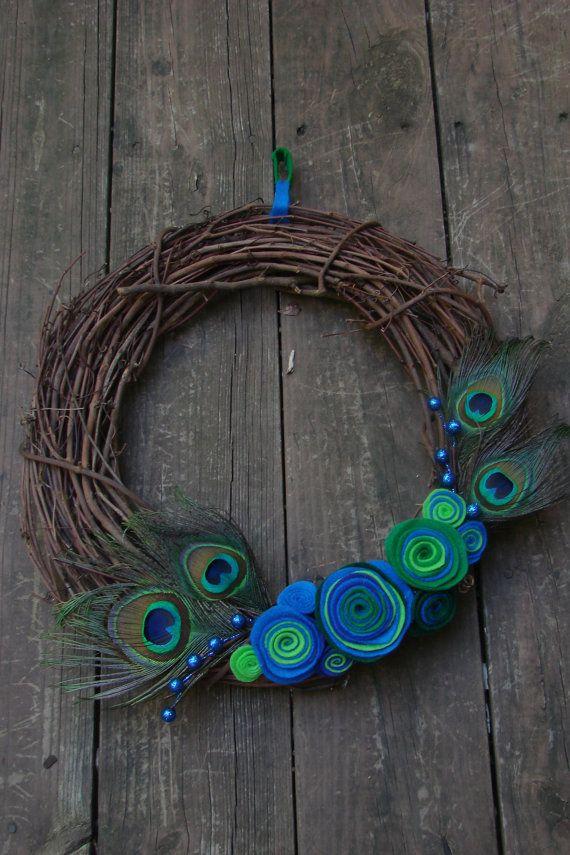 Peacock Wreath. $25.00, via Etsy.
