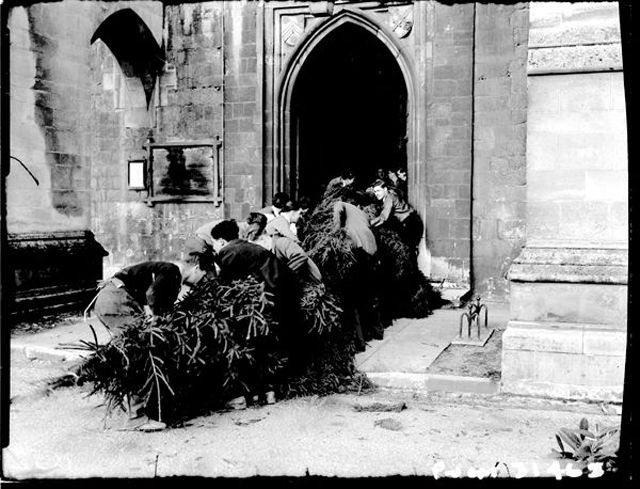 History Behind The Christmas Tree Part - 42: Interesting Old Photos Show The Story Behind The Christmas Tree Of  Winchester Cathedral In 1949