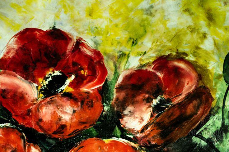 Papoilas - Картина,  60x40x2 cm ©2016 - Dores Aguiar -                                                                                                Современная живопись, Дерево, Холст, Цвета, Цветок, Любовь / Романтика, Papoilas, Fleurs, Lévres, Dores Aguiar