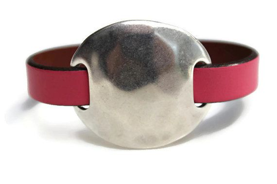 Bubble Gum Pink Leather Bracelet Hammered by PepperPotLeatherShop, $39.99