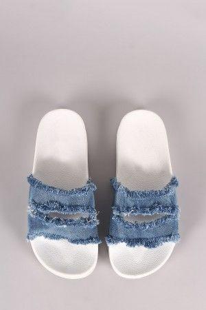 Shoe Republic LA Frayed Cutout Denim Slide Sandal