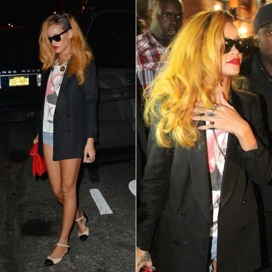 Rihanna in Ray-Ban sunglasses, Karl Lagerfeld tee, Chanel shoes, Celine clutch.