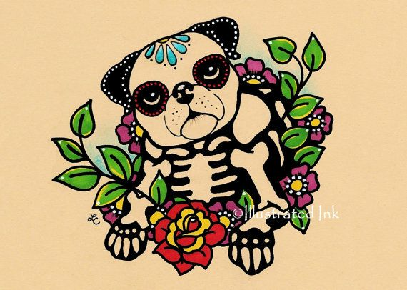 Day of the Dead Dog PUG Dia de los Muertos Art Print 5 x 7 or 8 x 10 - Choose your own words - Donation to Austin Pets Alive on Etsy, $9.50