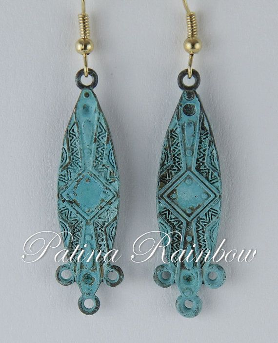 Verdigris Leaf Earrings Turquoise Patina Earrings by PatinaRainbow