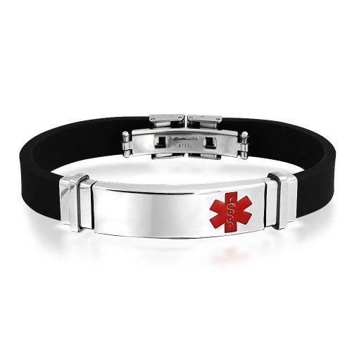 Bling Jewelry Mens caoutchouc noir acier inoxydable bracelet d'identification d'alerte médicale gravure gratuite