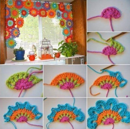Crochet Flower Power Valance Patrón gratuito
