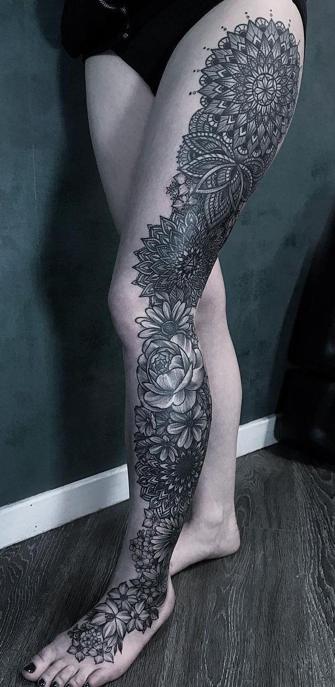 Awesome Leg Sleeve With Mandalas Laura Weller C Tattoo Artist Leg Tattoos Leg Sleeves Sleeve Tattoos