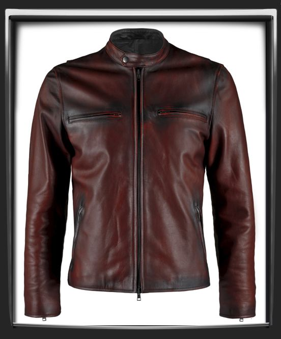 """Distressed Red Italian nappa leather with black leather detail.      This Leather Jacket was hand crafted in Italy.      Motorcycle style leather jacket.      A thing of beauty.      Also available in Black , Vintage Grey & Antique Brown      Model has a 40 """" chest and is wearing a size Medium for a vintage slim fit.    £339.00"""