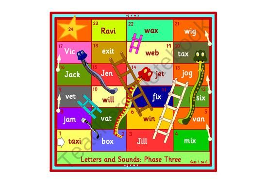 Snakes and Ladders phonics games. Phase 3 of the Letters and Sounds scheme. from MFL shop on TeachersNotebook.com -  (18 pages)  - Snakes and Ladders game for young children ,ESL,EFL or SEN . Letters and Sounds phase 3 words . In black and white and color . 9 boards to practice each set of sounds from phase 3 .   18 pages