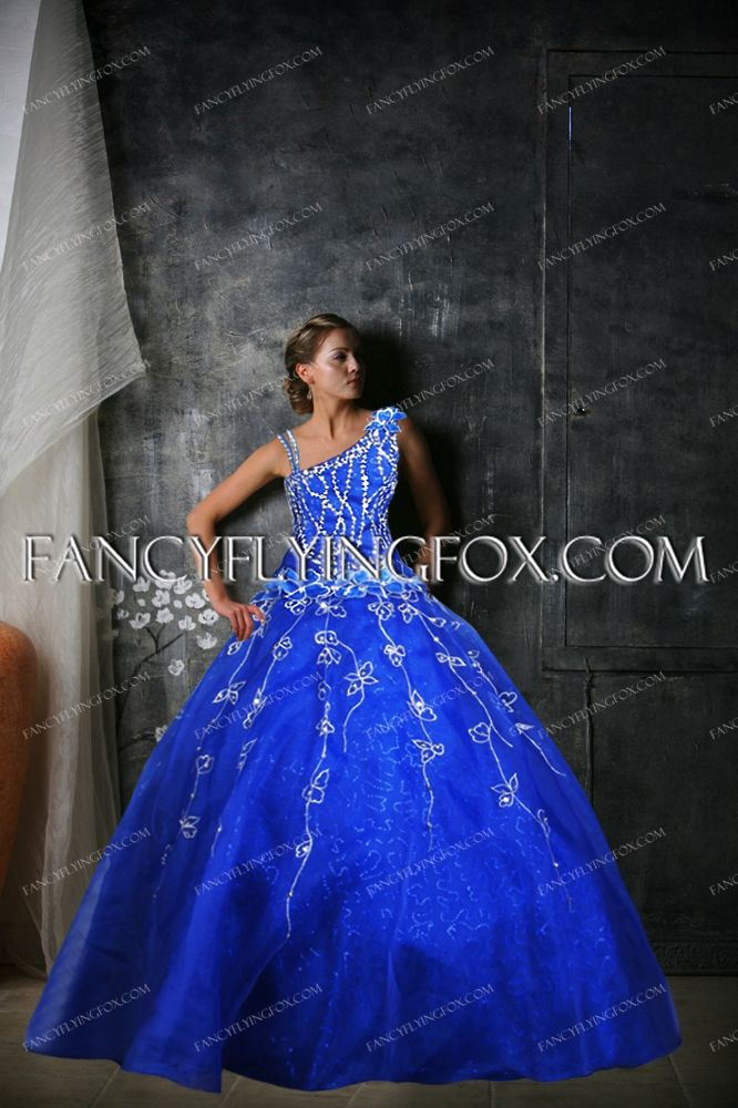 Romantic Royal Blue Sweet 15 Ball Gown Dress with Sequins
