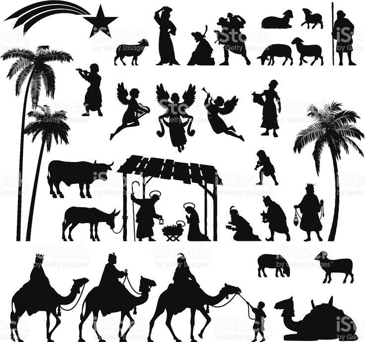 Nativity Silhouette set royalty-free stock vector art