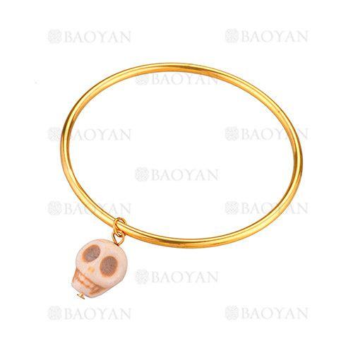 pulsera simple dorado acero con dije craneo blanco -SSBTG924364