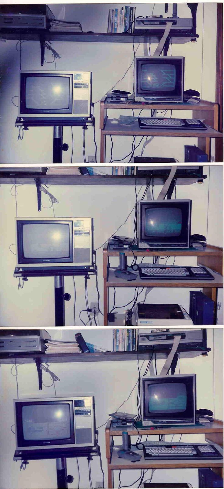 Fotos escaneadas do original, circa 1988. Um Expert 1.1 com interface de drive DDX, impressora, monitor fósforo verde Gradiente e uma TV Sharp.