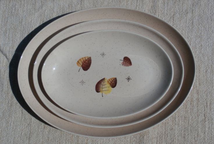 Oval Platters, 3 Sizes, Sherwood by Vernon Kilns Metox, Brown Leaf, Made in California.  Small, Medium, and Large Serving Platters.  Start or expand your collection.