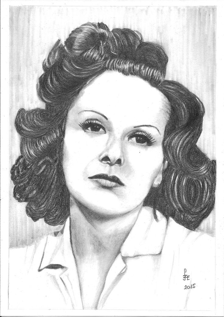 Pencil drawing portrait Mezei Mária by Erika Székesvári  https://www.facebook.com/ercziart/