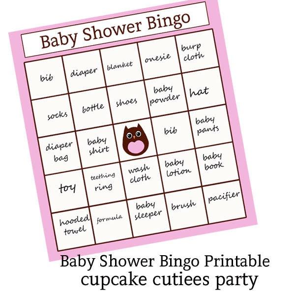 Baby Bingo Party Girl OWL  Game for Baby Shower   PRINTABLE- U pRiNt. $3.50, via Etsy.