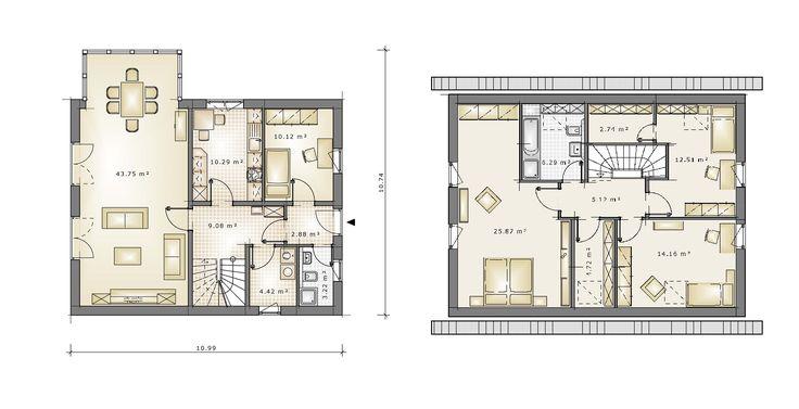 GRUNDRISS HAUSTYP EINFAMILIENHAUS FAMILY DREAM 139 mit massiven haufwerksporigen Außen- und Innenwänden aus Liapor (Blähton). #Grundriss#Fertighaus#Massivhaus#Schlüsselfertig