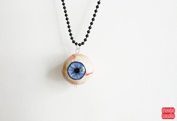 Halloween Eyeball Necklace Realistic Eye Pendant by petiteutile