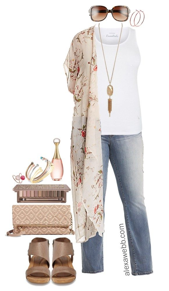 Plus Size Floral Kimono Outfit | Plus size summer outfit
