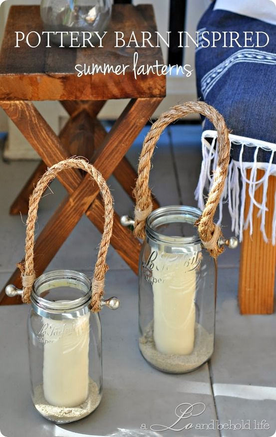 Pottery Barn inspired summer jar lanterns