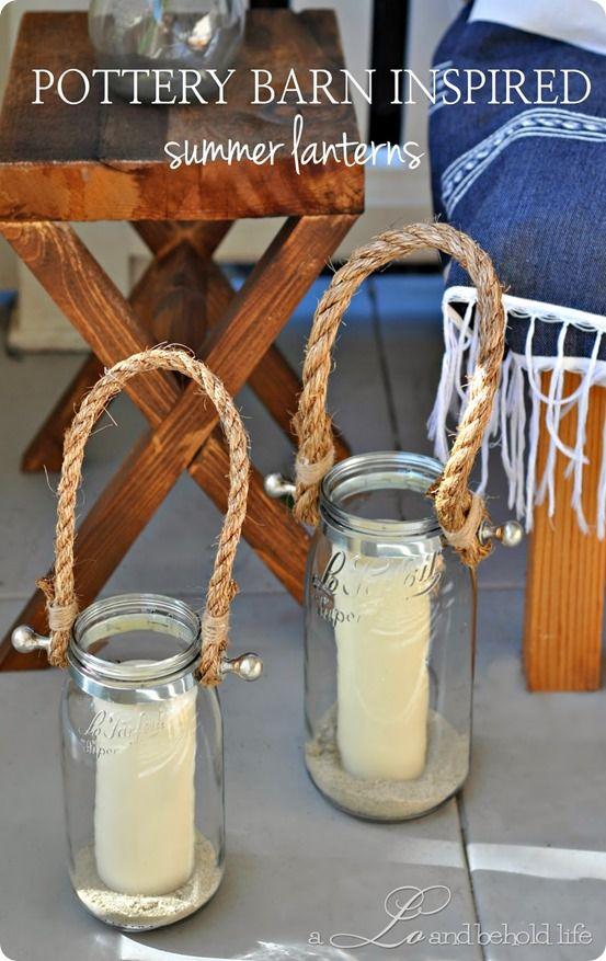 pottery barn inspired summer lanterns