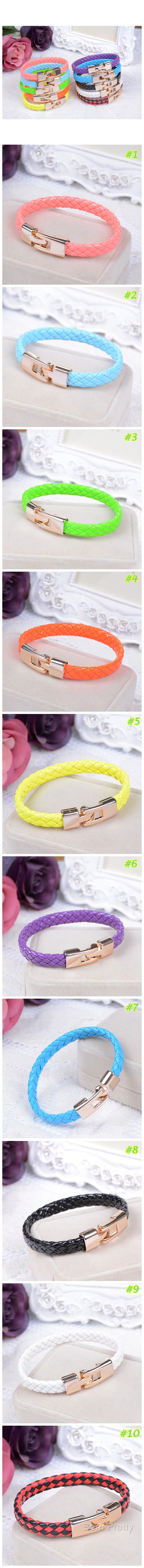 $0.99 Bright Color Braided Leather Bracelet Stainless Steel Magnetic Clasp Lock Leather Bracelet - BornPrettyStore.com