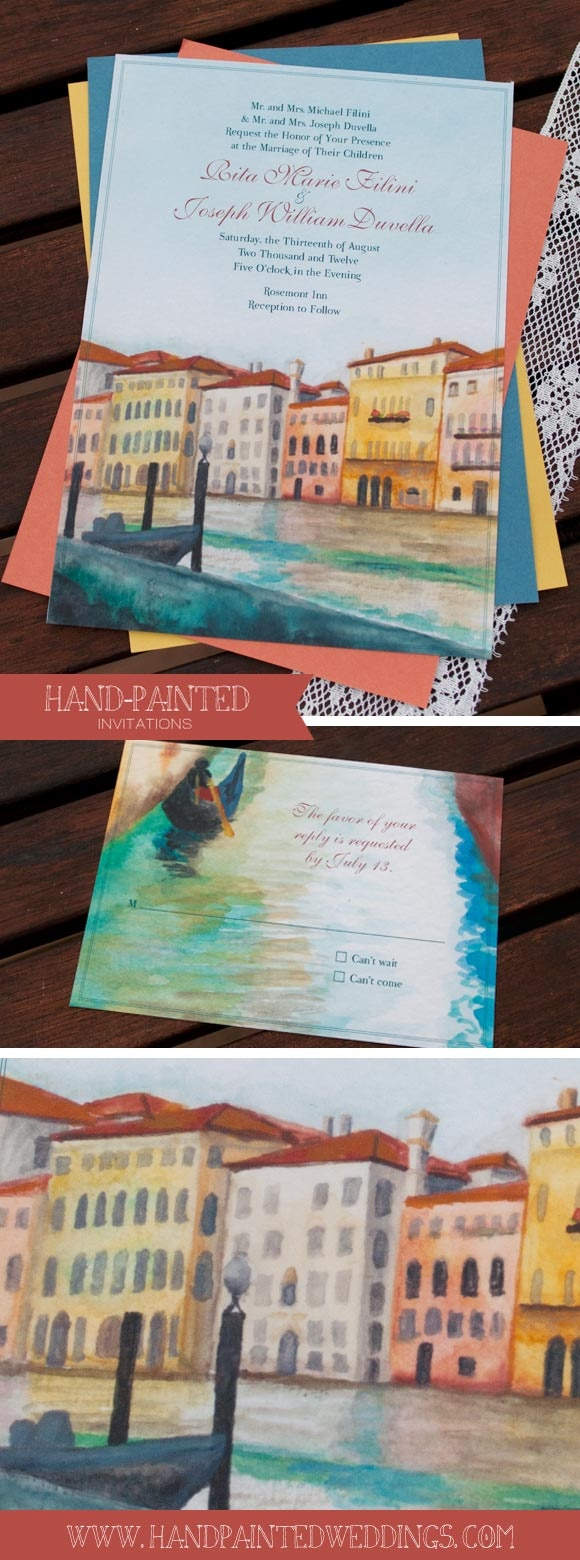 Venice Canal Invitation By Hand Painted Weddings