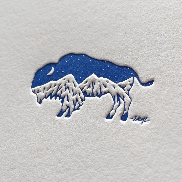Image of Bison Mountain - Letterpress Print