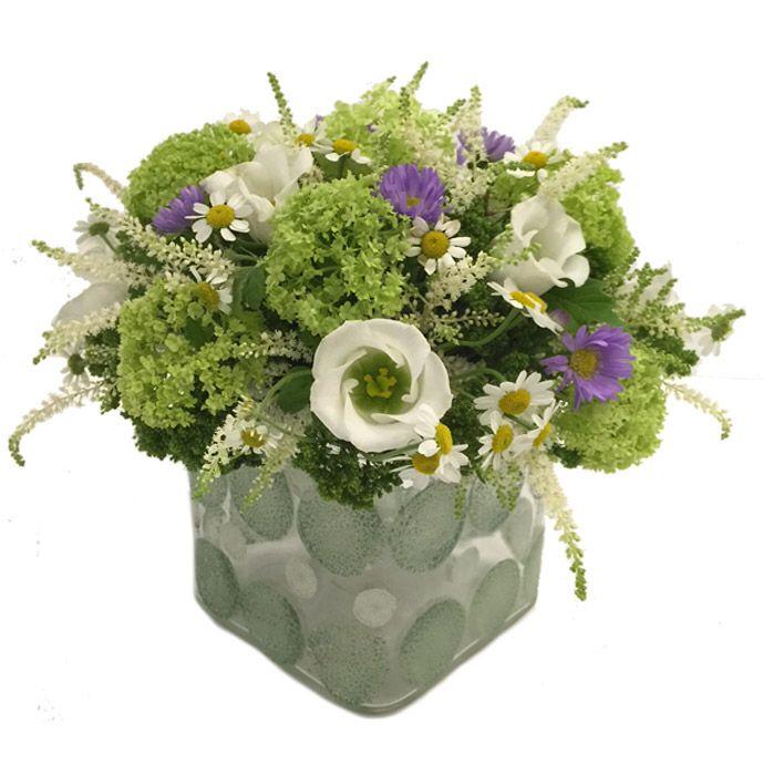 White and green!! Glass handpainted vase fleria.gr