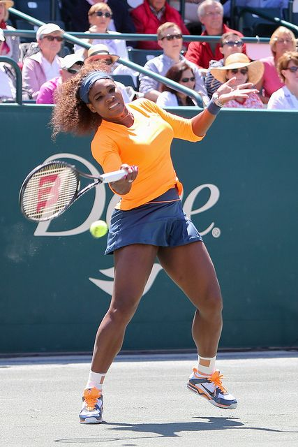 Serena Williams hits a powerful forehand