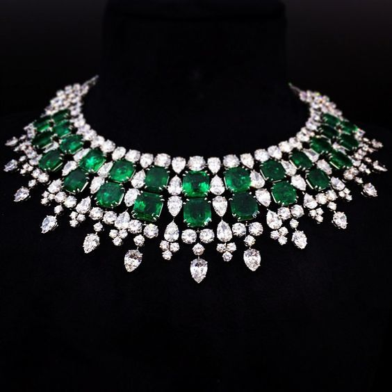 Harry Winston Colombian emerald and diamond necklace.