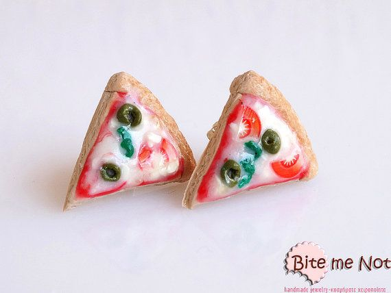Polymer Clay Jewelry Pizza Stud Earrings Mini Food by BiteMeNot