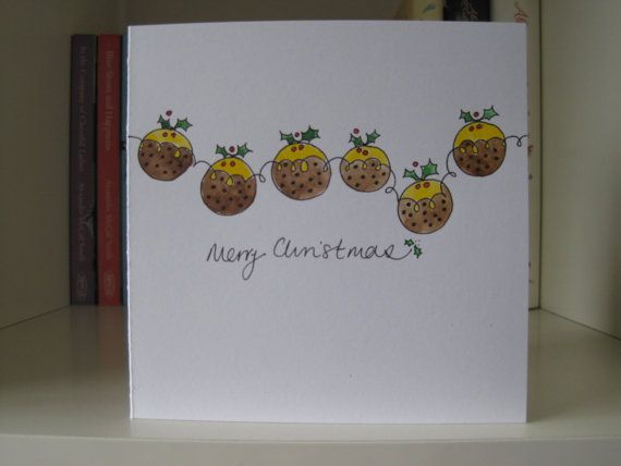 Handmade Christmas Card - drawn and painted by hand. Puddings on Etsy, £2.00