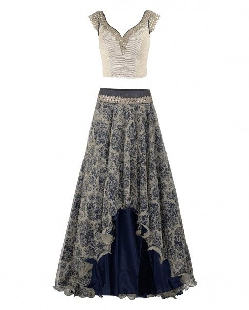 Navy Blue Low High Lengha with Mirror Work Blouse