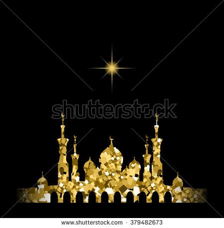 Glitter gold Silhouette of mosque with minarets and star. Concept for Islamic Muslim holidays Mawlid birthday prophet Muhammad, holy month Ramadan Kareem, Eid Mubarak, Fatima bint Muhammad, Newroz