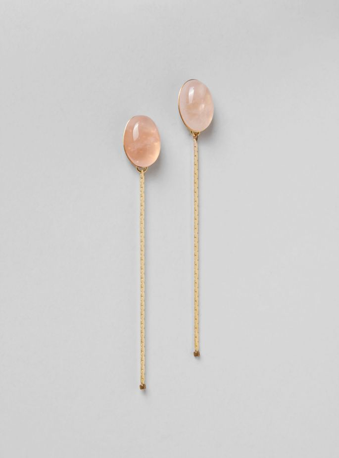Couverture and The Garbstore - Womens - Helena Rohner - GEA121L Stone Chain and Tiny Bead Earrings